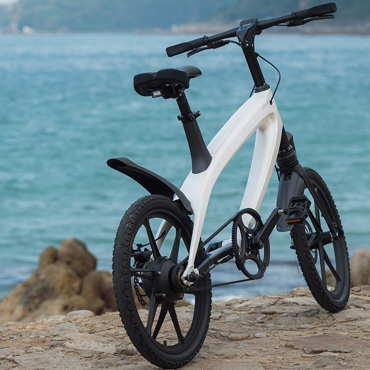 S1 BMX e-Bike white with mag wheels at river