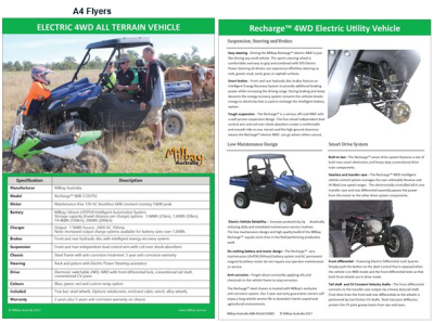 Milbay Recharge All Terrain 4WD Electric Utility Vehicle A4 Product Brochure